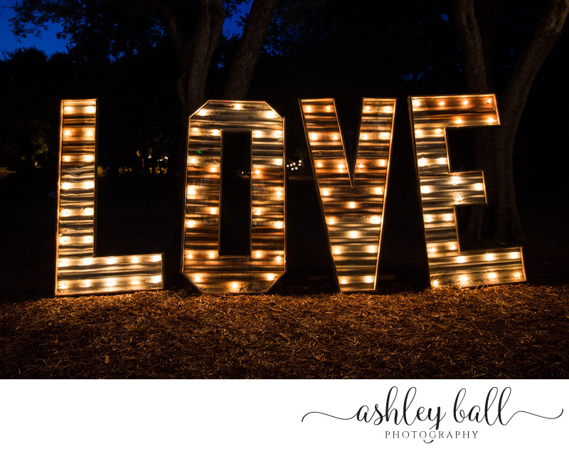 Love sign at wedding reception in Vacaville, California