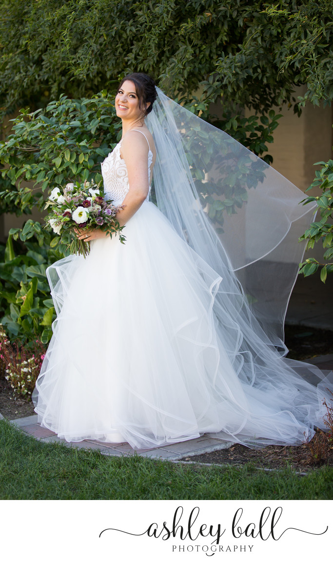 Classic Bridal Portrait with Cathedral Length Veil
