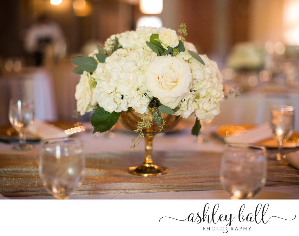 Timeless White Floral Center Pieces at Willow Ballroom