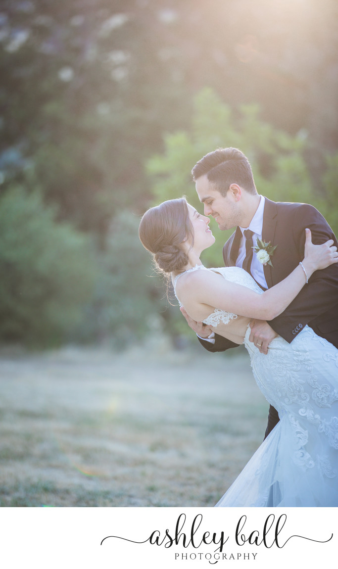 Romantic sunset photos of bride and groom in Vacaville