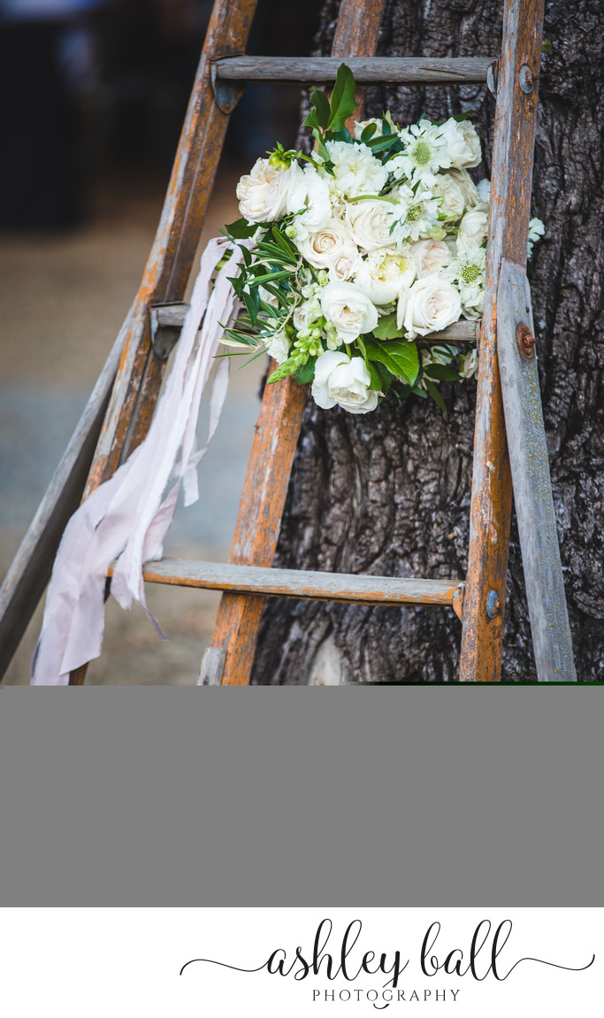 White bridal bouquet at Joyful Ranch wedding venue