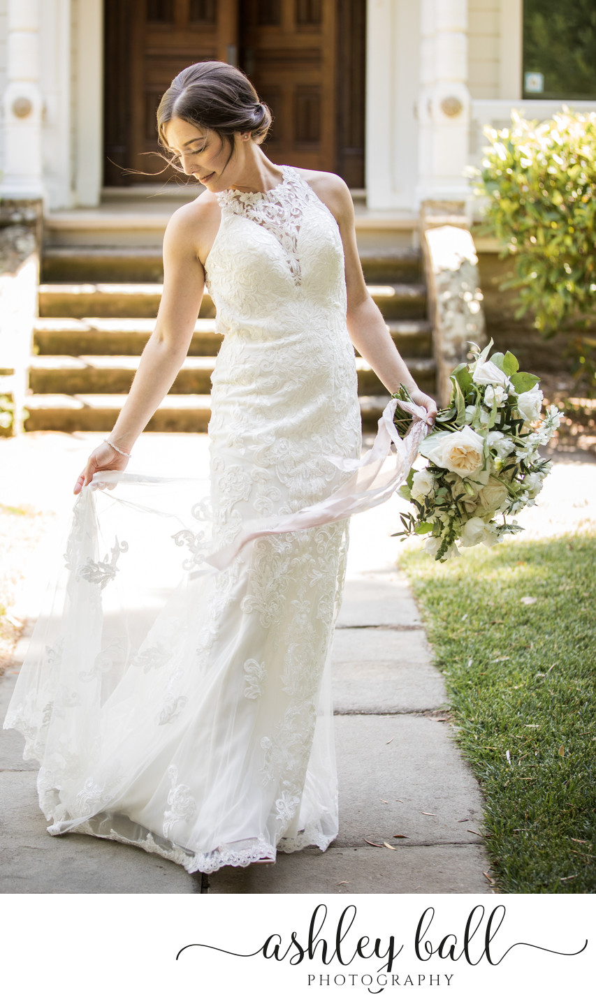 Bridal portrait in front of mansion at Joyful Ranch