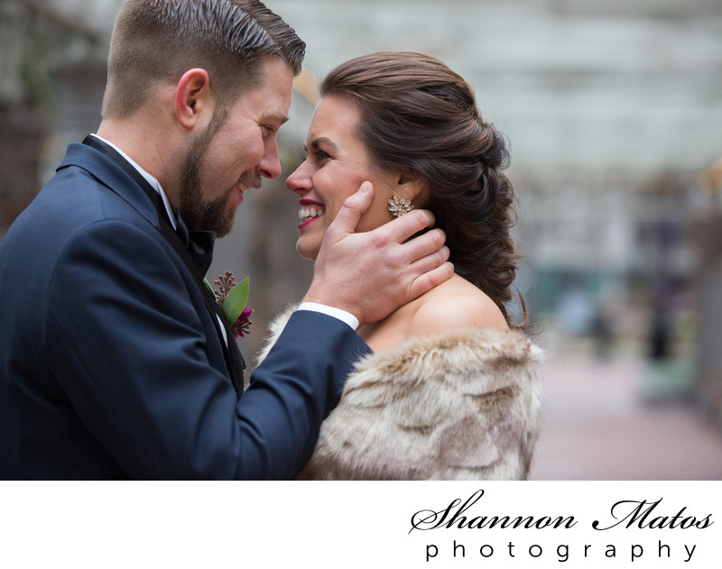 Winter wedding first look in Boston