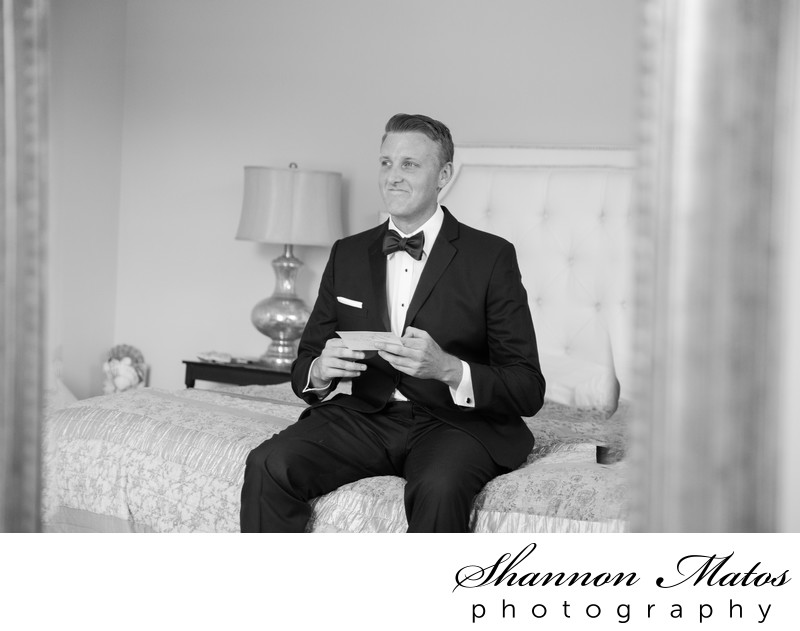 Groom getting ready at Oceancliff, Newport RI