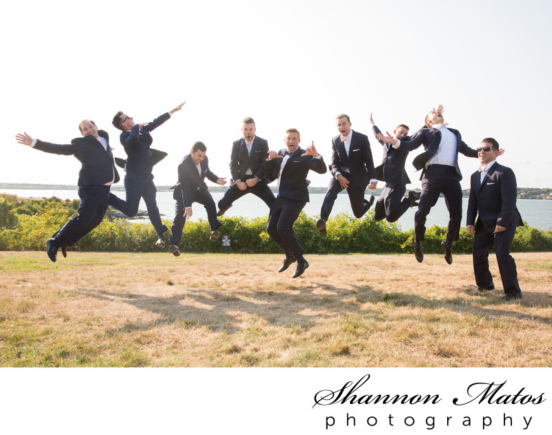 Jumping Groomsmen at Oceancliff
