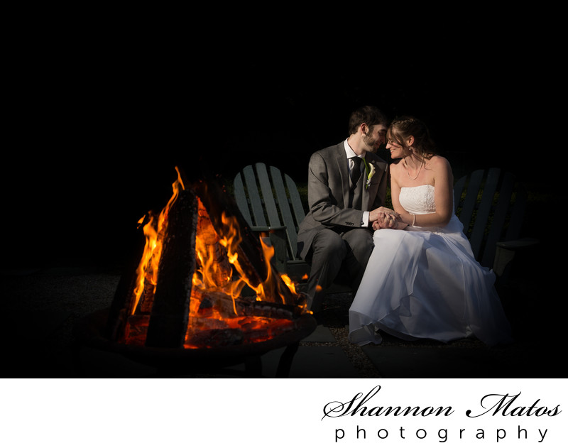 Wedding Portrait by the Fire Pit at Agawam Hunt