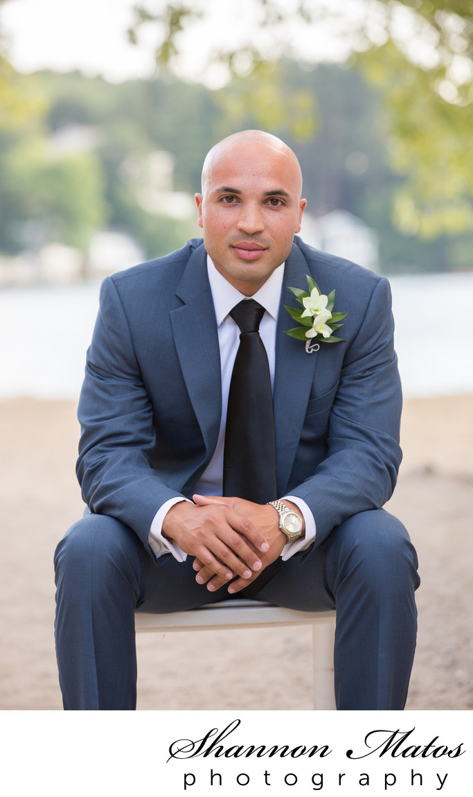Groom Portrait at Lake Pearl Wrentham