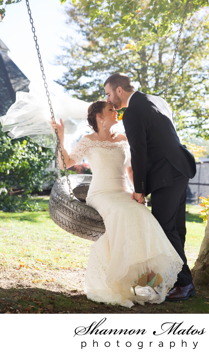 Bride and Groom on a Tire Swing at The Five Bridge Inn