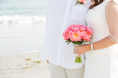 Pink Peony Wedding Bouquet, Galilee Beach Club