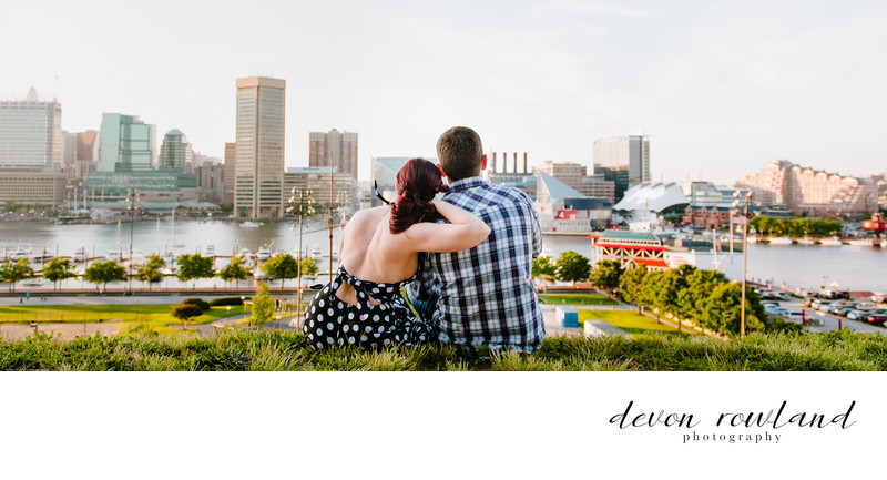 Baltimore Couple View Cityscape from Federal Hill Park