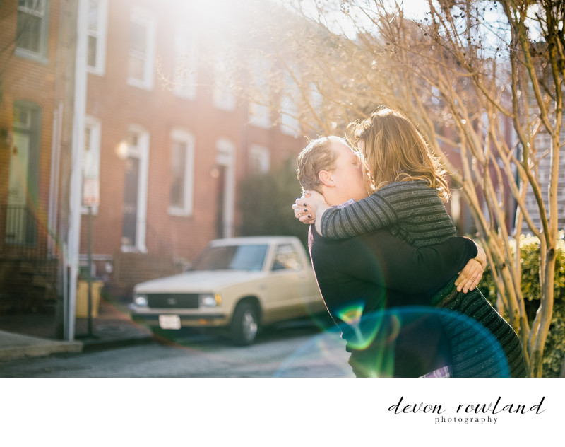 Fed Hill Baltimore Love Engaged and Lens Flare Pic