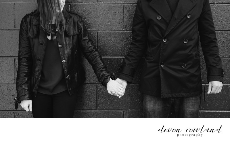 Virginia: Moody Black and White Photo of Engaged Couple