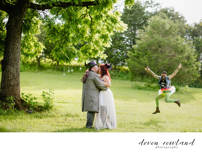 Virginia Steampunk Farm Wedding with Fairy Photo Bomb