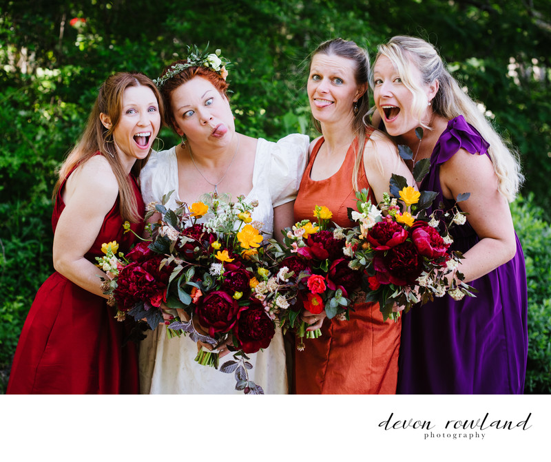 Silly, Colorful Bride and Bridesmaids Say Cheese