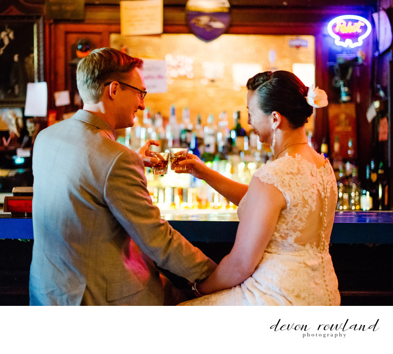 Baltimore Wedding Portrait at the Bar Before