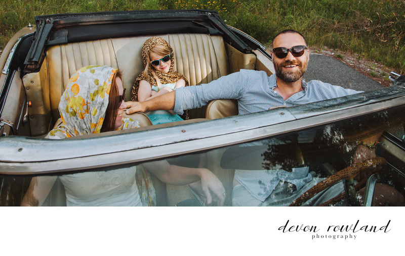 Destination Photography Classic Car and Family Portrait