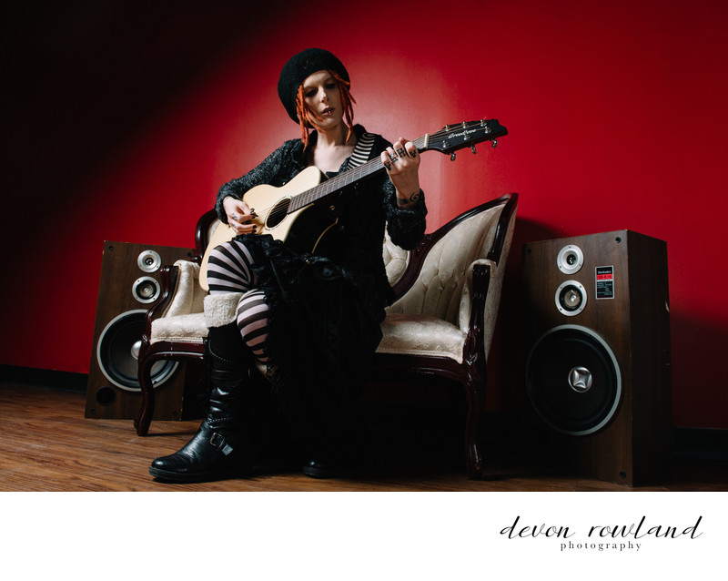 Virginia Photographer Musician Portrait with Red Accent