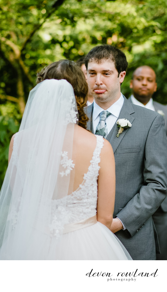Elkridge Furnace Inn Ceremony with Groom Making Faces