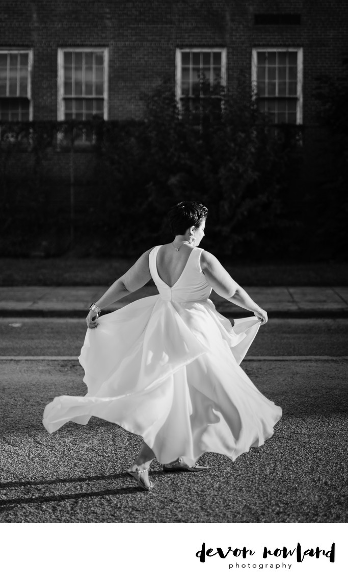 DC bride black and white photo