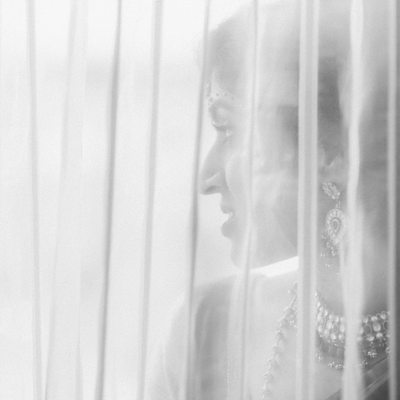 Mysterious Bride from Southeast Asian Wedding, B&W Pic