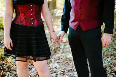 Engaged Goth Couple Portraits in Columbia, Maryland