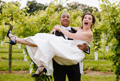Virginia Winery Wedding for Ecstatic Bride and Groom