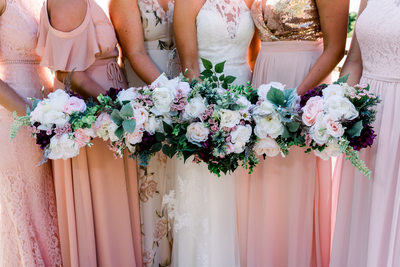 Blush Bridesmaids Dresses and Bridal Bouquets