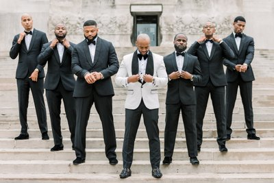 Groomsman at Monument Circle