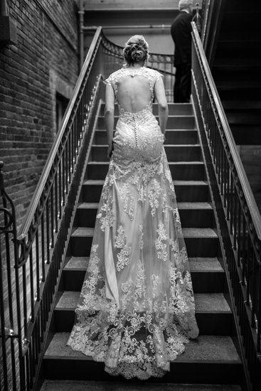 The back of the wedding gown
