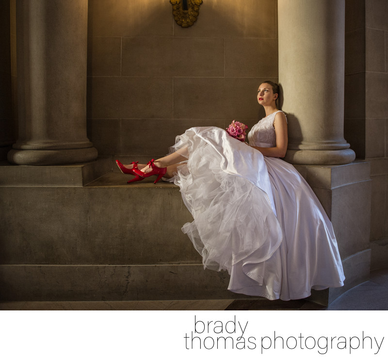Red Wedding Shoes Portrait