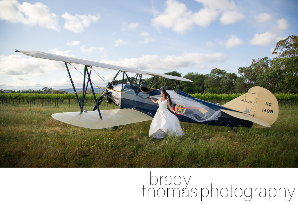 Bride Biplane Photographer Sonoma