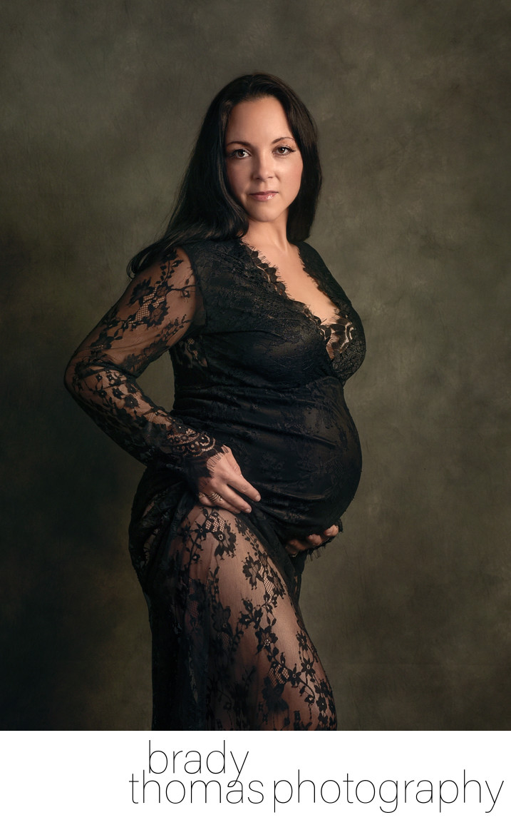 Fine art studio maternity portrait