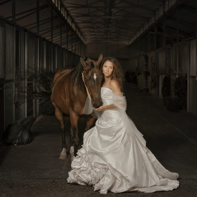 Horse and Bride Fine Art Photograph Clayton