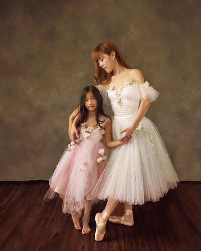 Studio Portraits of Ballerina Mom and Daughter