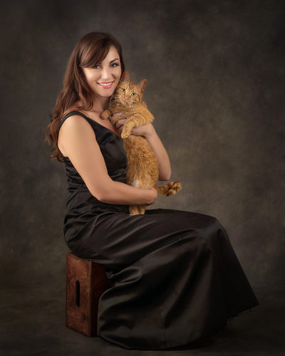 Fine Art Portrait Photographer Woman and Her Orange Cat