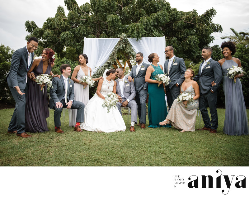 Bridal Party in Garden Wedding - Barbados Wedding Photography
