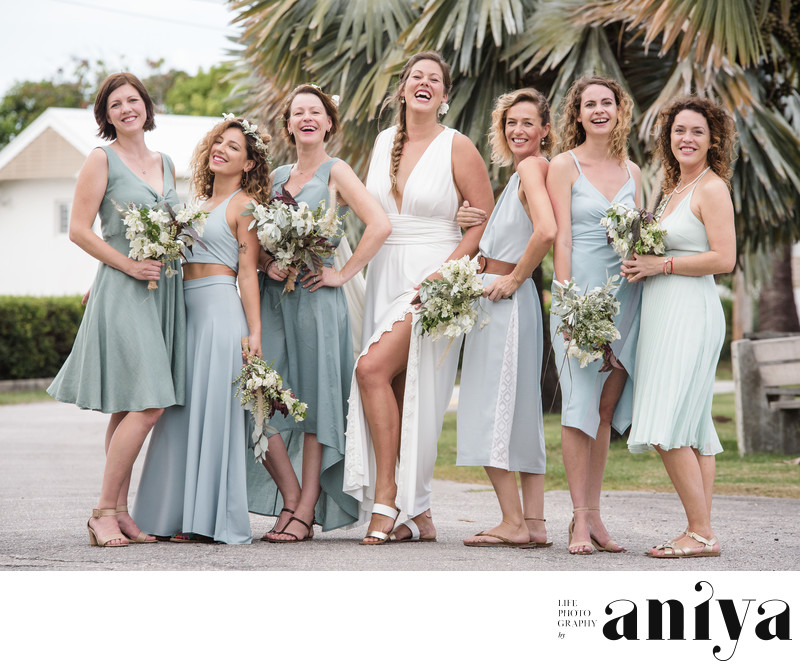 Bridesmaids at Surfer's Bay Beach Bar - Barbados Wedding Photography