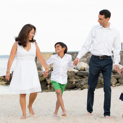 Family Photos on the Beach in Rye NY