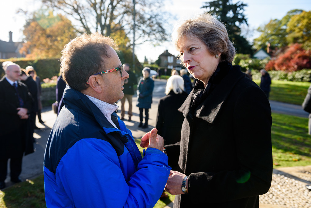 Prime Minister Theresa May with Timmy Mallett