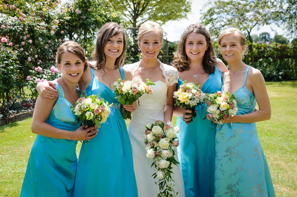 Bride with Four Bridesmaids