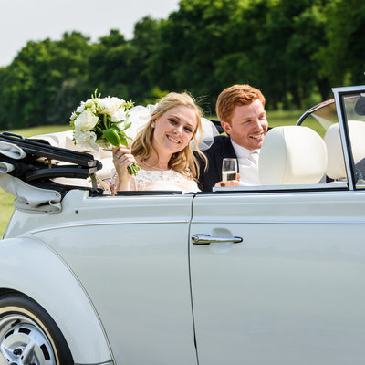 Bride & Groom in Wedding car