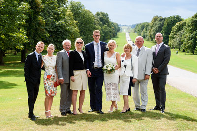 Bridal Party Group Photo in Windsor Great Park