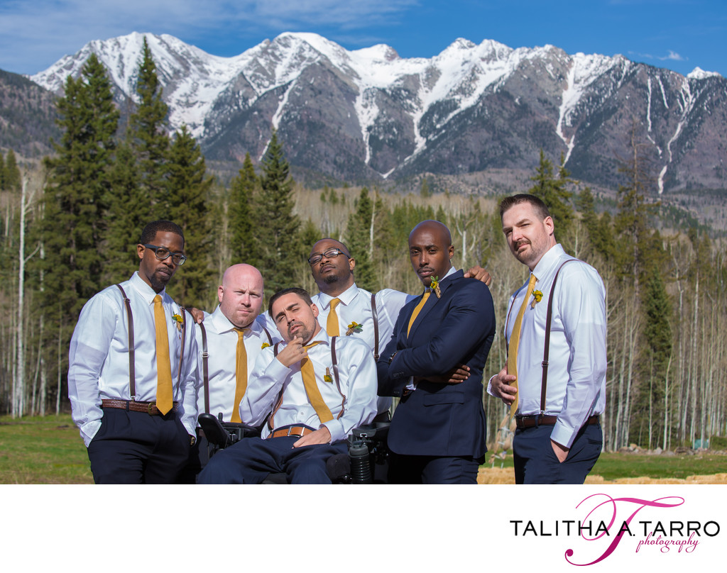Landscape photo of groomsmen