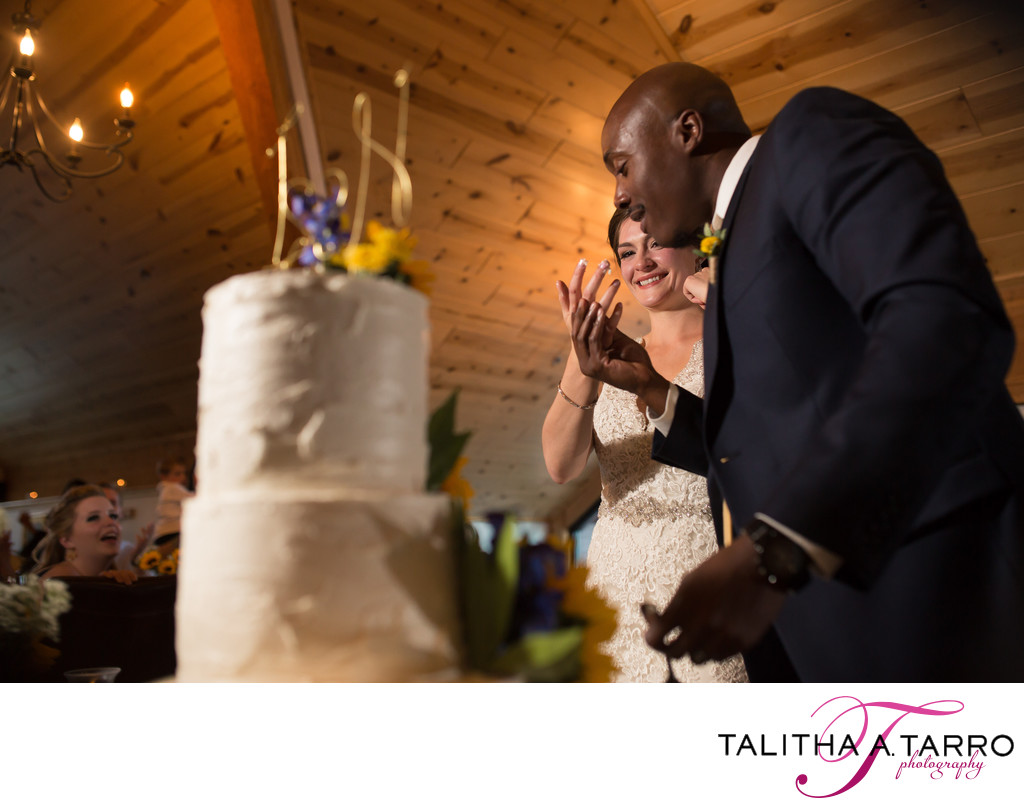 Cake cutting at Silverpick Lodge Wedding Reception