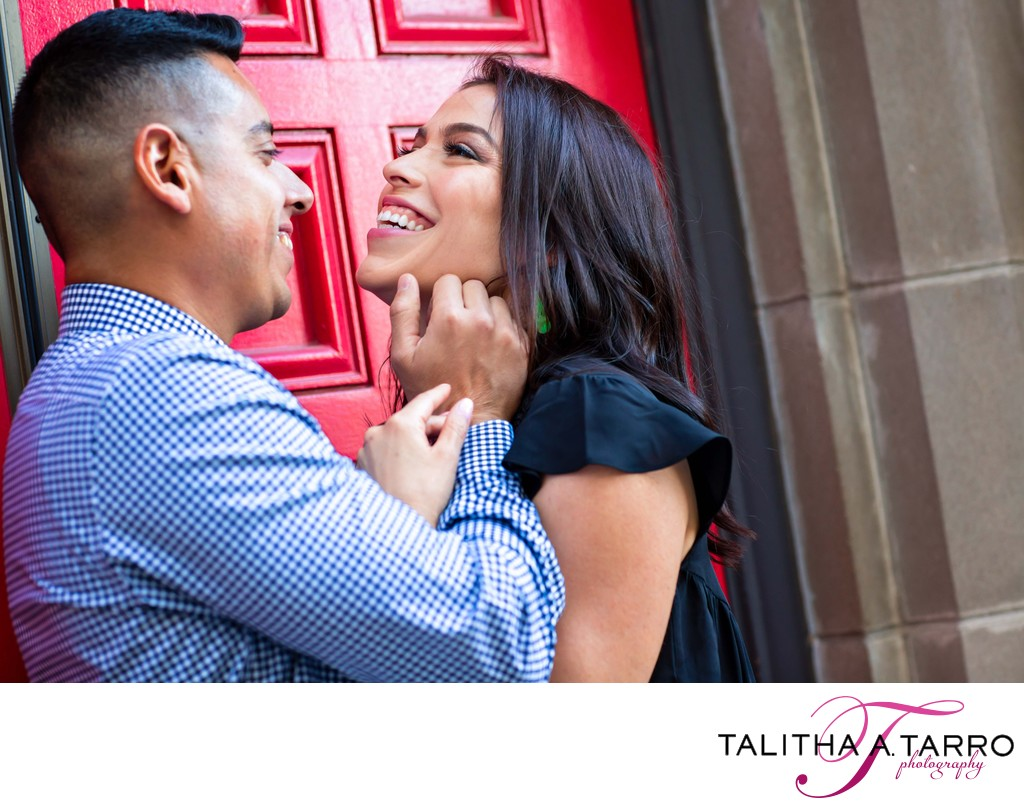 Real moments and laughter during an engagement session
