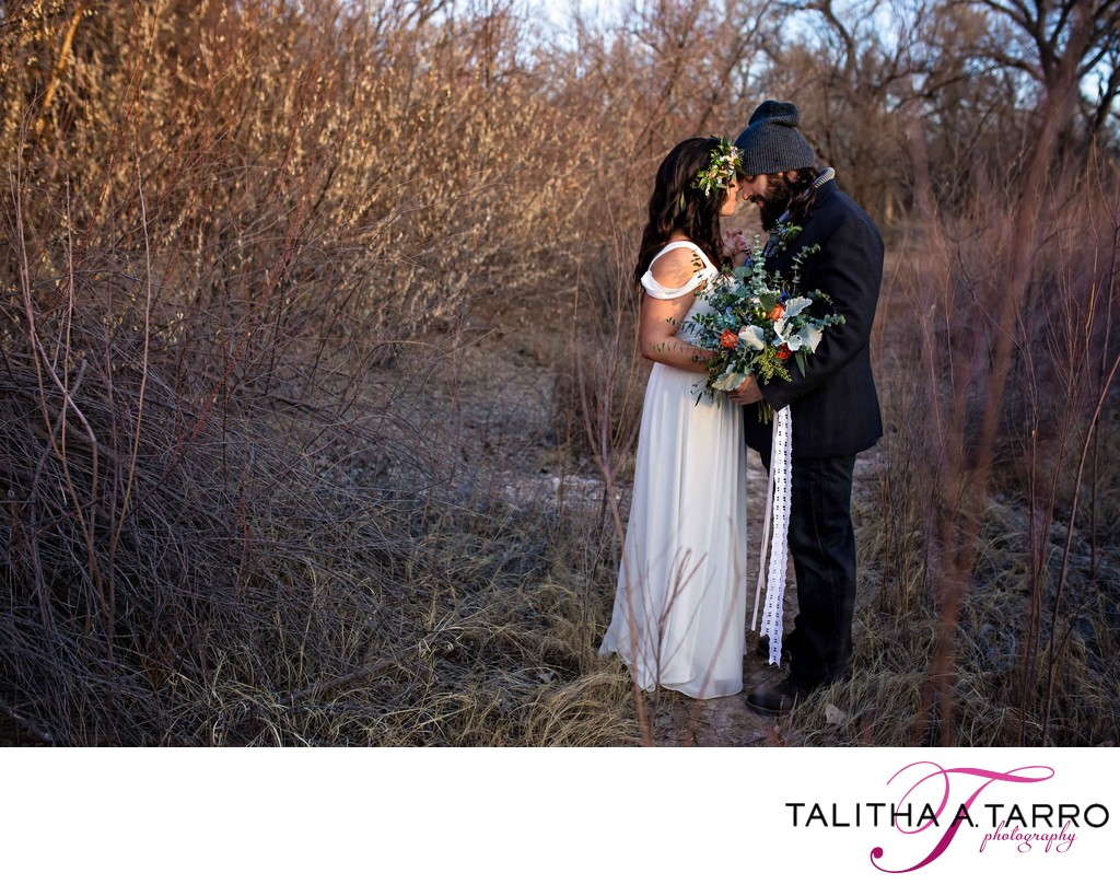 sunrise wedding portraits in the bosque