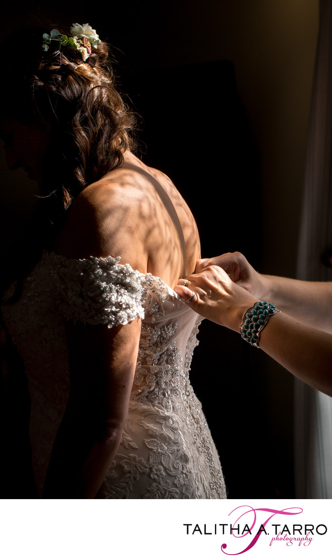 Bridal Prep shadows through a lace curtain