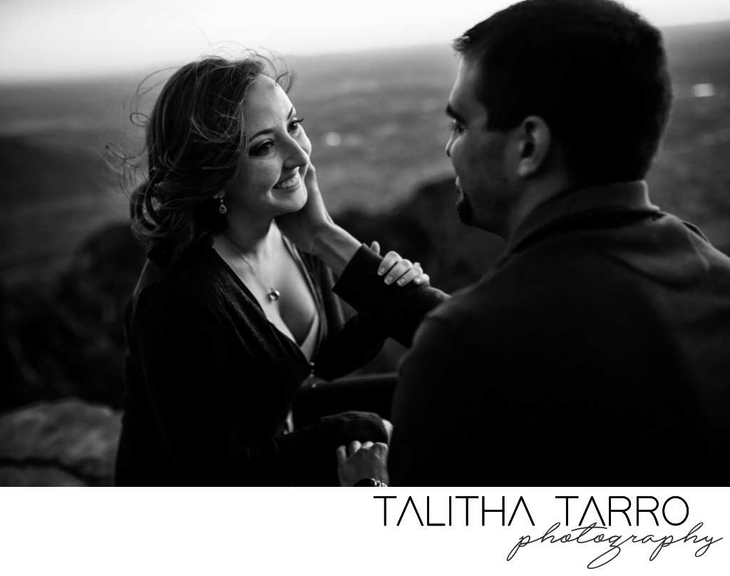 Couple engagement photo black and white
