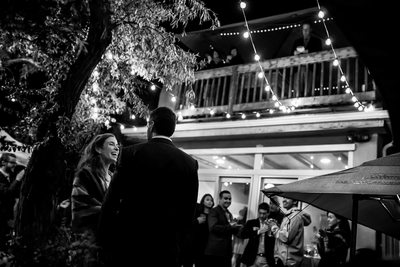 Bride and groom at backyard reception