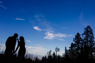Couple silhouette in the mountains